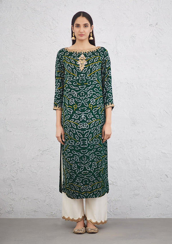 Green All Over Bandhani Kurta with Embroidered Pants