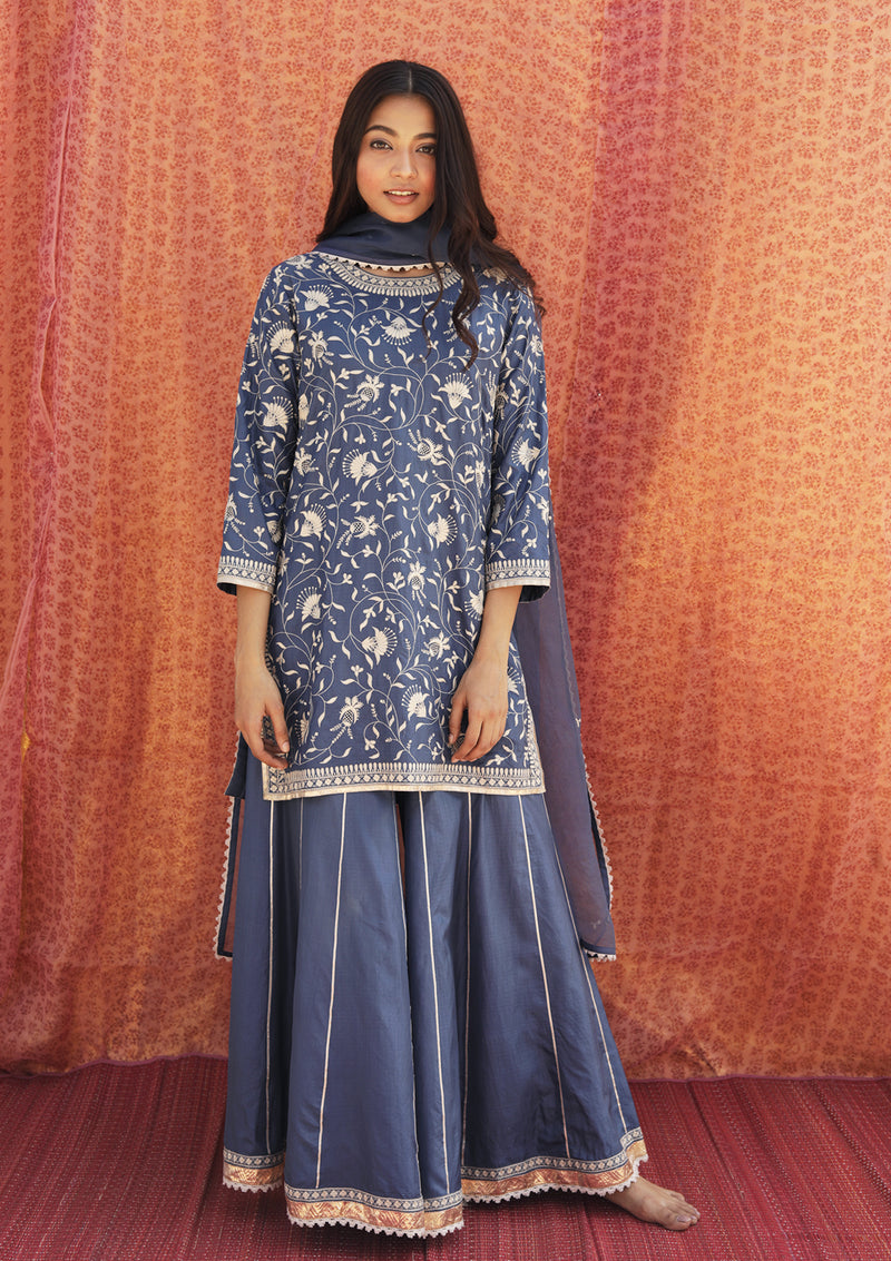 Indigo Knee Length Embroidered Kurta and Sharara