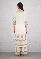 Ivory Scallop Neck Cutwork Embroidered Kurta with Pants