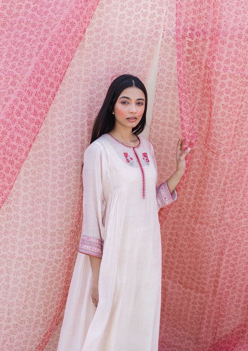 Ivory Dots Printed Gathered Kurta with Pants
