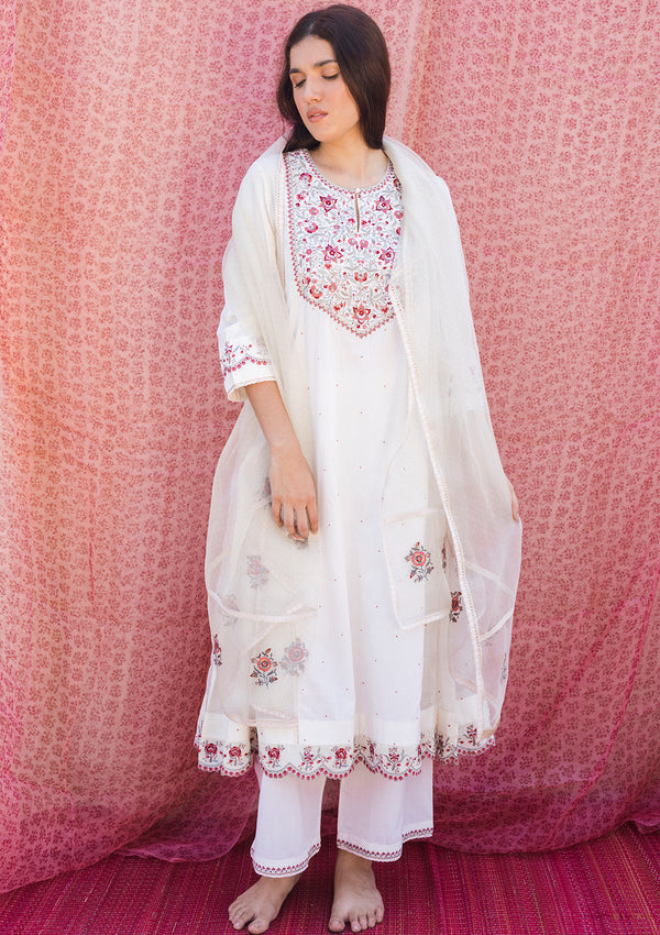 Ivory Dotted Organza Dupatta with Delicate Embroidered Butis