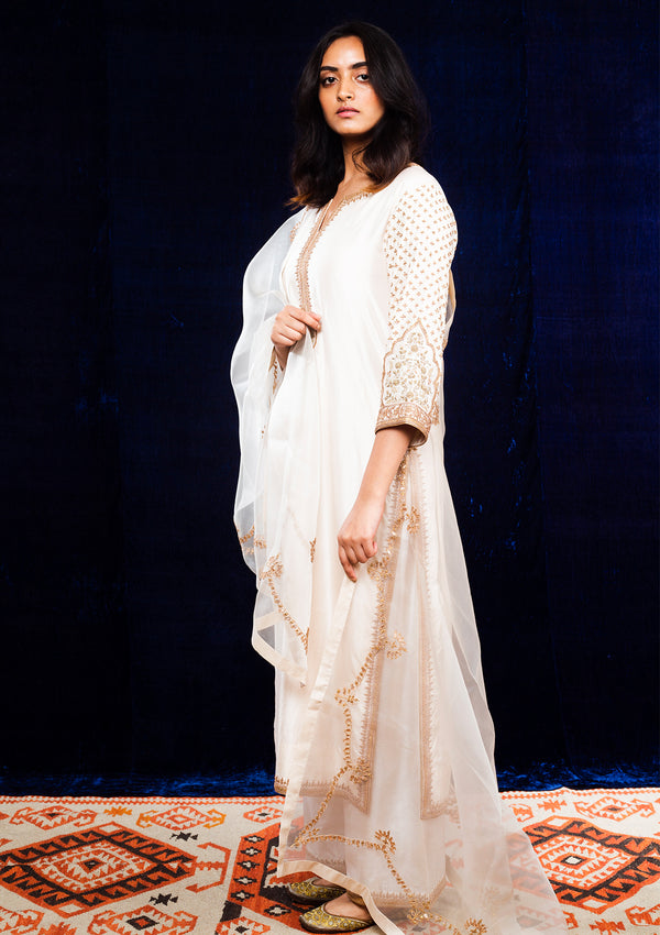 Ivory Embroidered Straight Kurta and Pants