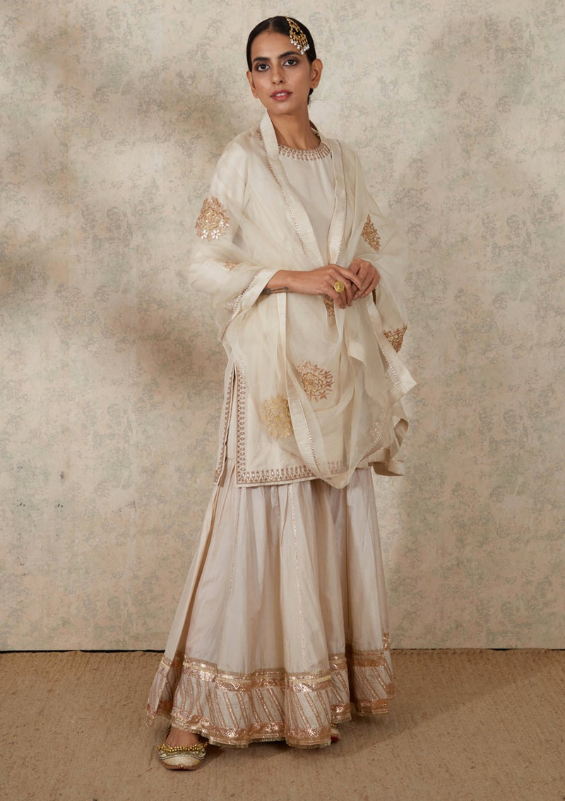 Ivory Embroidered Georgette Dupatta