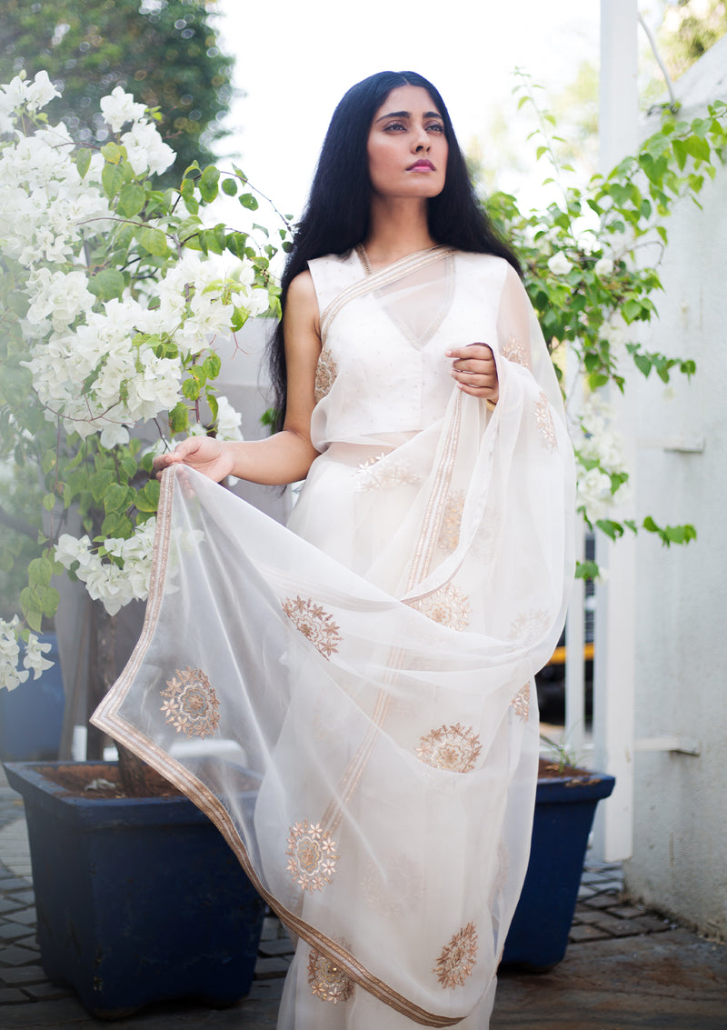 Ivory Embroidered Organza Saree