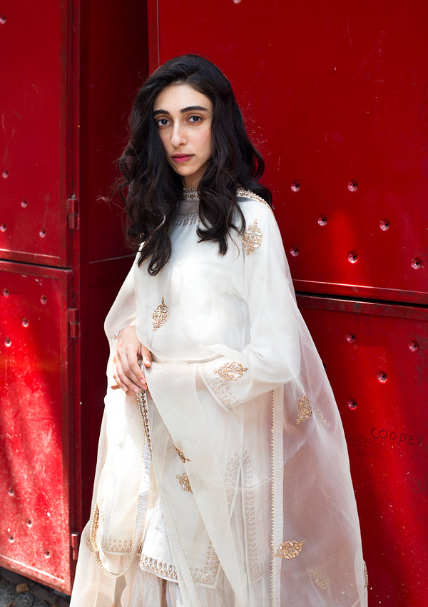 Ivory Embroidered Short Silk Kurta with Sharara