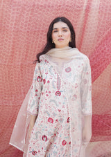 Oats All Over Embroidered Long Straight Kurta with Pants