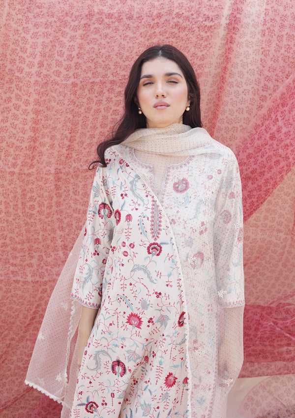 Ivory All Over Embroidered Long Straight Kurta with Pants