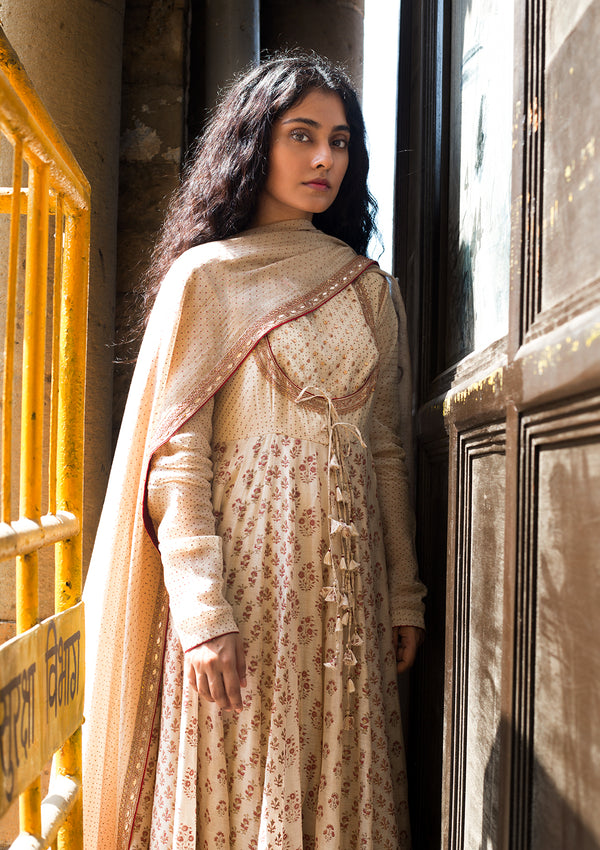 Beige Dotted Chanderi Dupatta with Embroidery