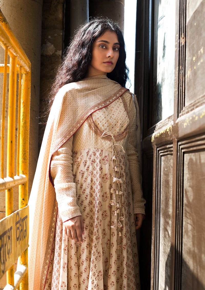Beige Printed Chanderi Anarkali And Churidar