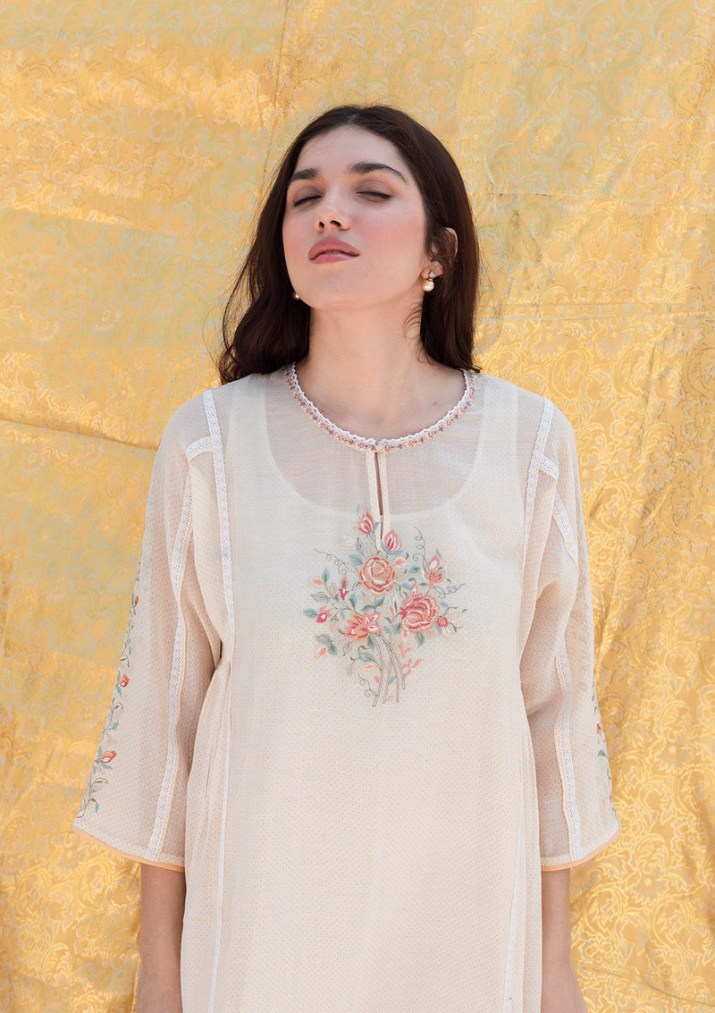 Ivory Printed Kurta and Pants with Embroidery