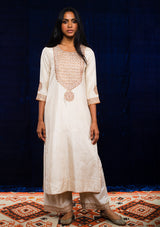 Ivory Zardosi Embroidered Straight Kurta and Pants