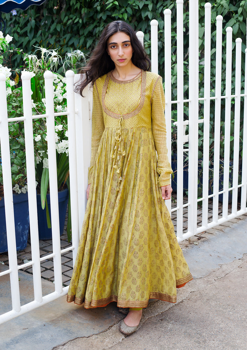 Light Green Printed Chanderi Embroidered Anarkali With Churidar