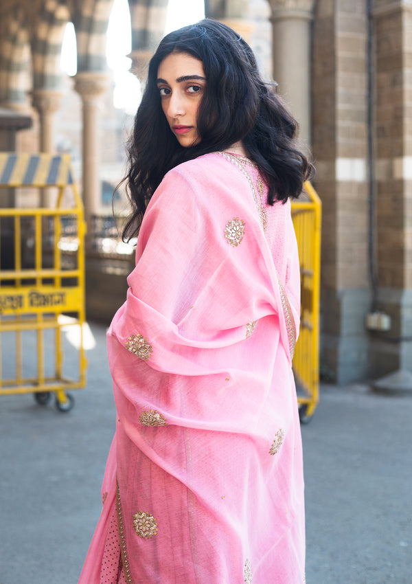 Light Pink Gota Buta Embroidered Chanderi Dupatta