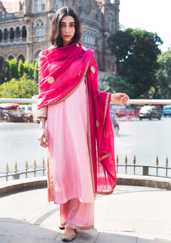 Baby Pink V Neck Embroidered Silk Kurta with Pants