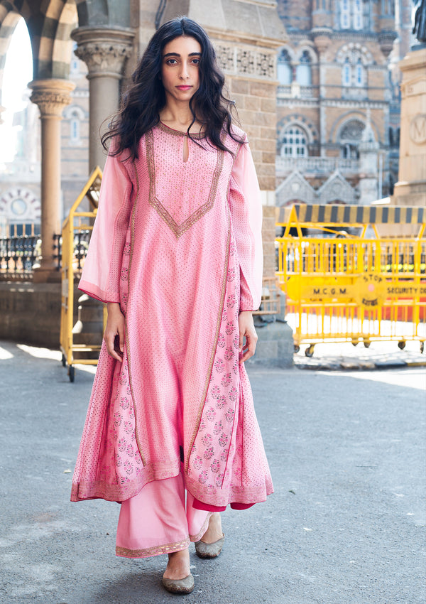 Light Pink Hand Embroidered Kali Kurta and Pants