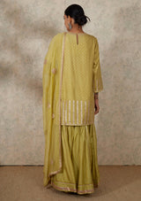 Light Green Gota Embroidered Kurta and Sharara