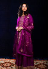Magenta All Over Embroidered Kurta with Sharara