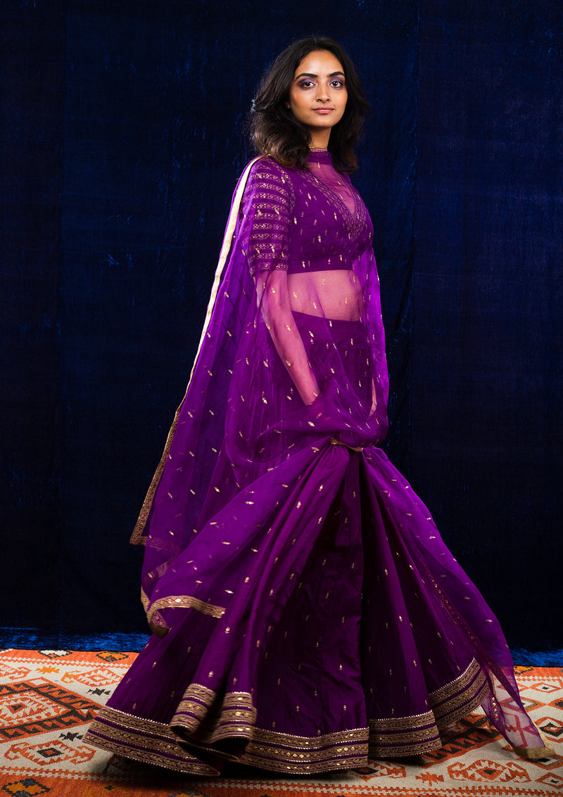 Magenta Hand Embroidered Lehenga with Blouse and Dupatta