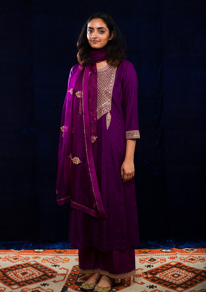 Magenta Yoke Embroidered Kurta and Pants