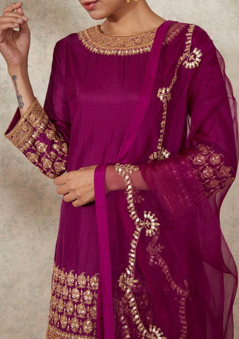 Light Magenta Gota Embroidered Dupatta
