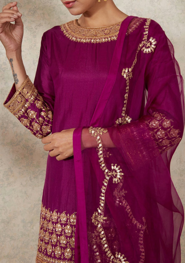 Light Magenta Gota Embroidered Kurta with Sharara