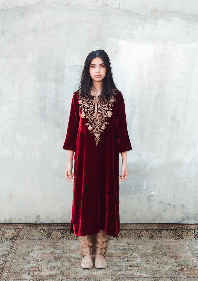 Maroon Yoke Embroidered Velvet Kurta and Brocade Pants