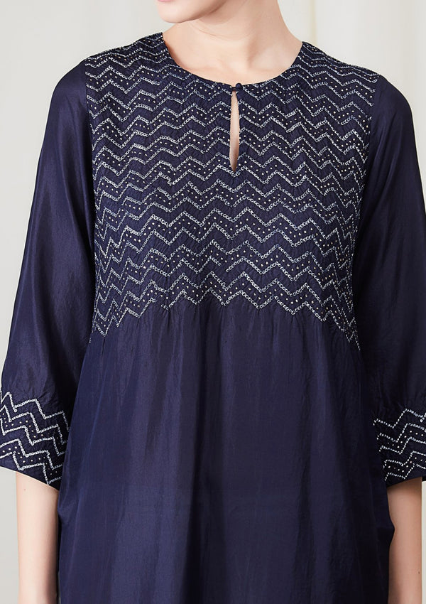 Navy Blue Traditional Bandhani Kurta with Pants