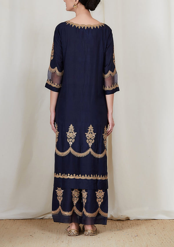 Navy Blue Cutwork Embroidered Kurta with Pants
