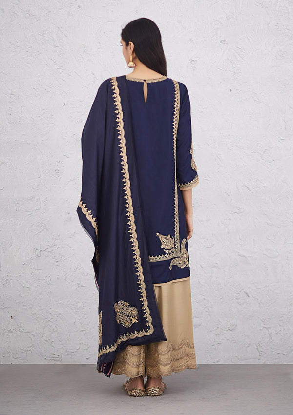 Navy Blue Embroidered Reversible Silk Dupatta