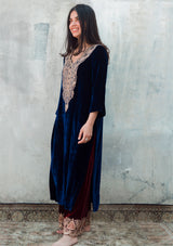 Navy Blue Embroidered Velvet Kurta with Maroon Pants