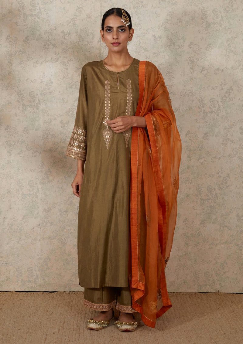 Olive Yoke Embroidered Kurta and Pants