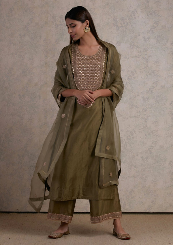 Olive Green Embroidered Organza Dupatta