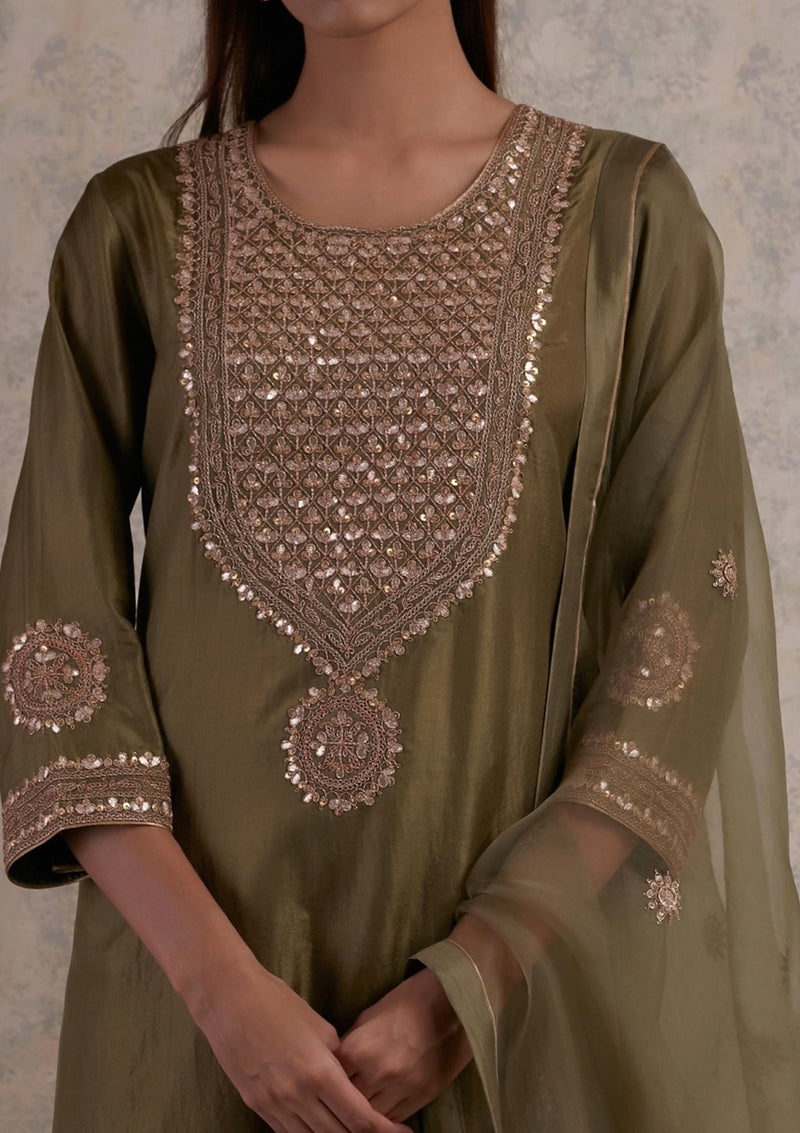 Olive Green Yoke Embroidered Kurta with Pants