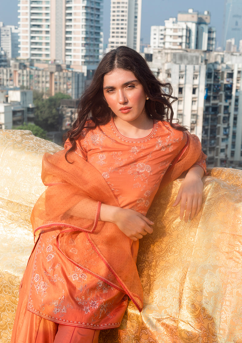 Rustic Orange Organza Dupatta With Contrasting Dots and Delicate Edging