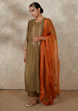 Orange Buta Embroidered Organza Dupatta