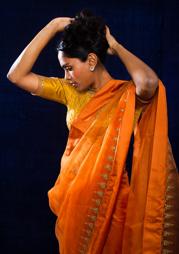 Orange Embroidered Organza Saree