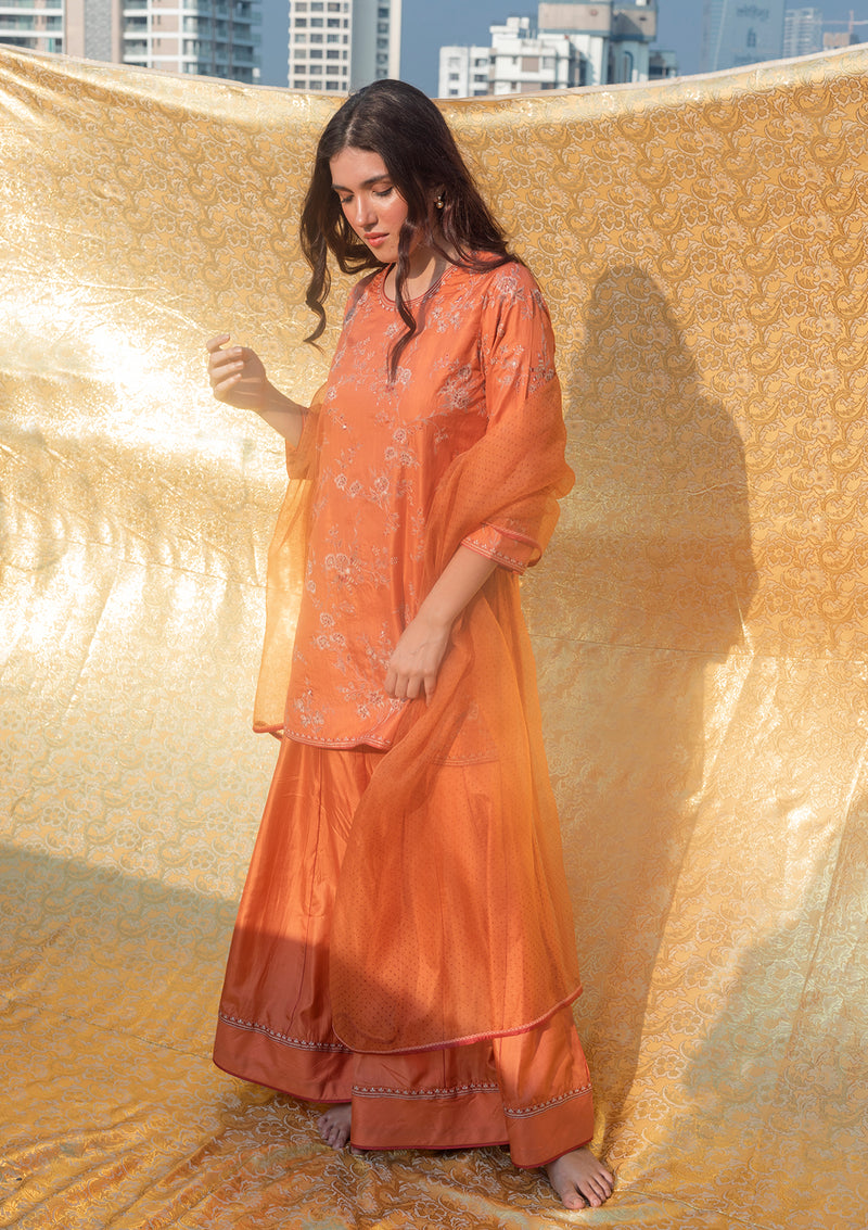Rustic Orange Knee Length Embroidered Kurta and Sharara