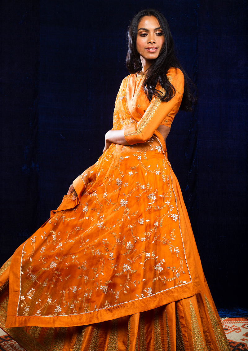 Orange Embroidered Lehenga with Blouse and Dupatta