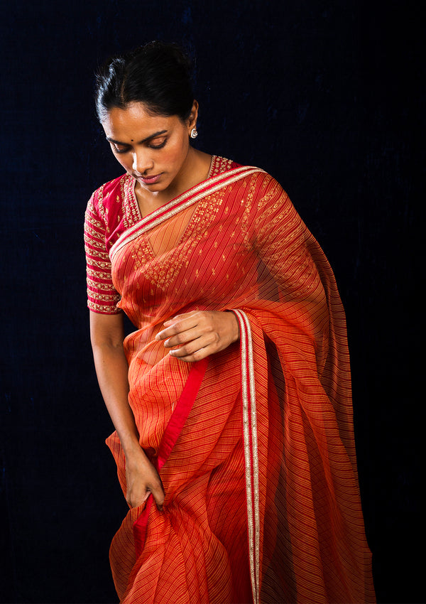 Red and Orange Leheriya Organza Saree