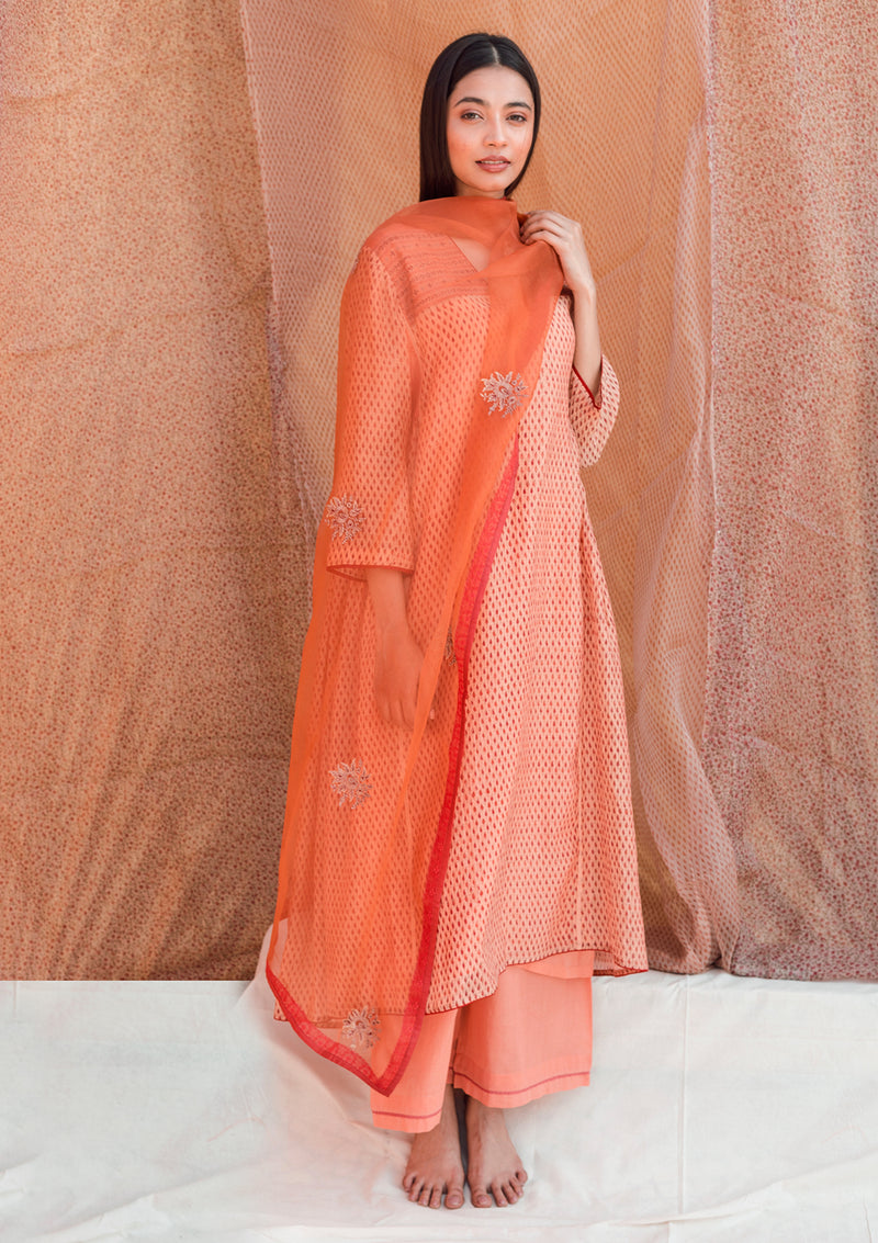Orange Buti Embroidered Organza Dupatta