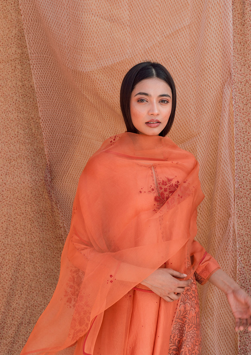 Orange Floral Resham Embroidered Organza Dupatta