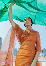 Orange Organza Saree with a Scallop Embroidered Border