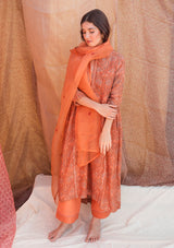 Orange Printed Chanderi Gathered Kurta with Pants