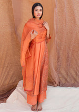 Orange Printed Embroidered Kali Kurta