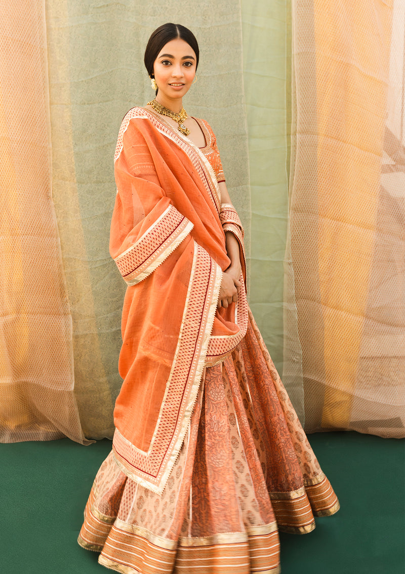 Orange Printed Gota Work Lehenga with Blouse and Dupatta