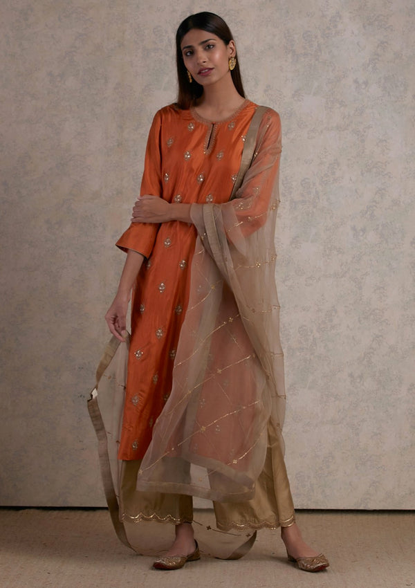 Orange Buti Embroidered Kurta with Pants