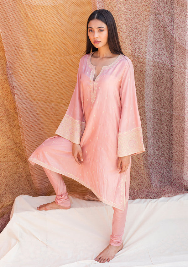 Salmon Pink Short A Line Kurta with Churidar