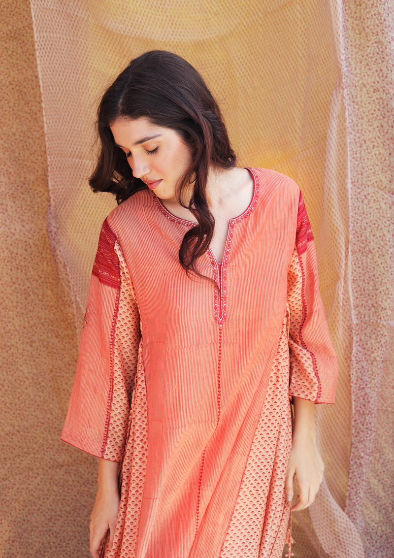 Peach Printed Chanderi Gathered Kurta with Pants