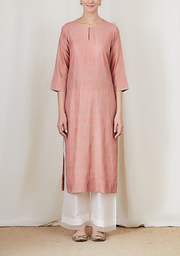 Salmon Pink Bandhani Triangle Badla Emboidered Kurta with Pants