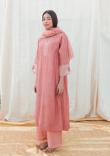 Pink Dotted Chanderi Gathered Kurta